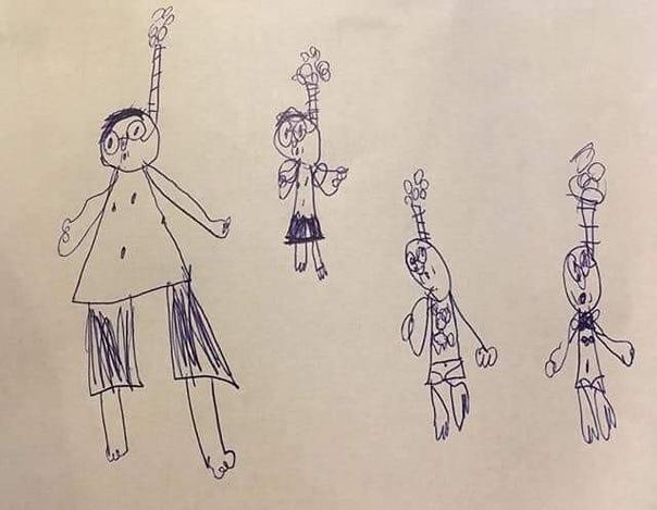 Рисунок шeстилетнего мальчика «Мама, папа, я и бр…